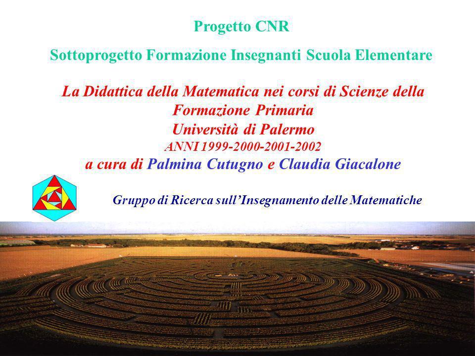 La Didattica della Matematica nei corsi di Scienze della Formazione Primaria Università di Palermo ANNI 1999-2000-2001-2002 a cura di Palmina Cutugno