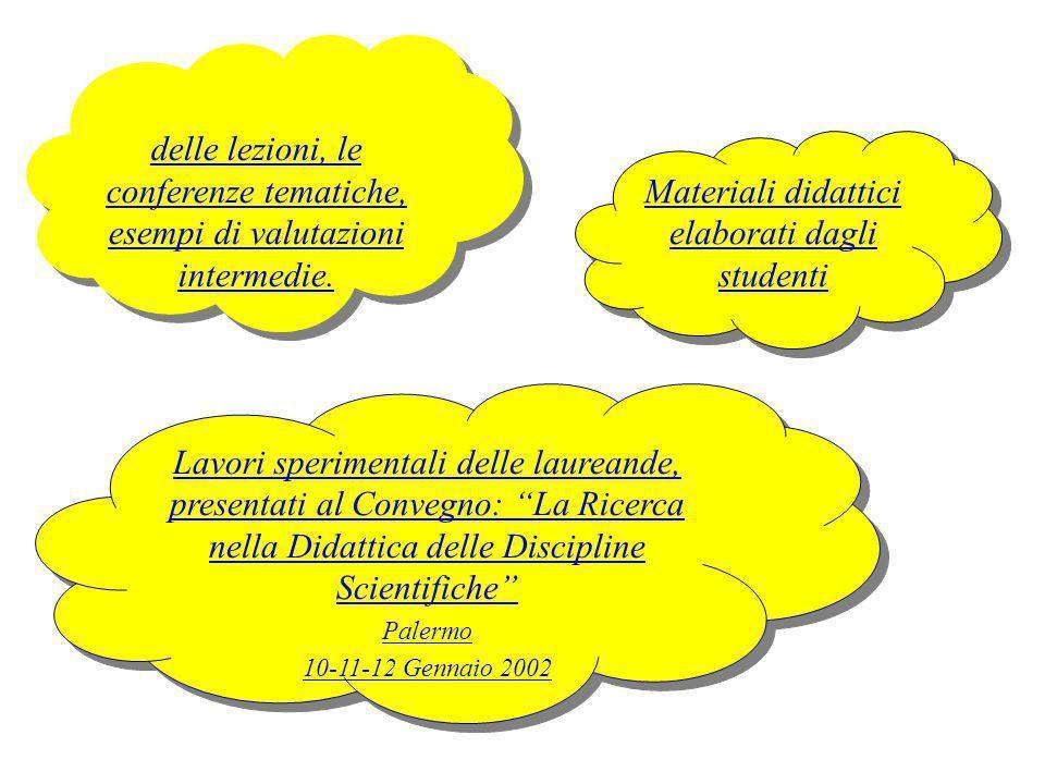 I programmi, i lucidi delle lezioni, le conferenze tematiche, esempi di valutazioni intermedie. delle lezioni, le conferenze tematiche, esempi di valu