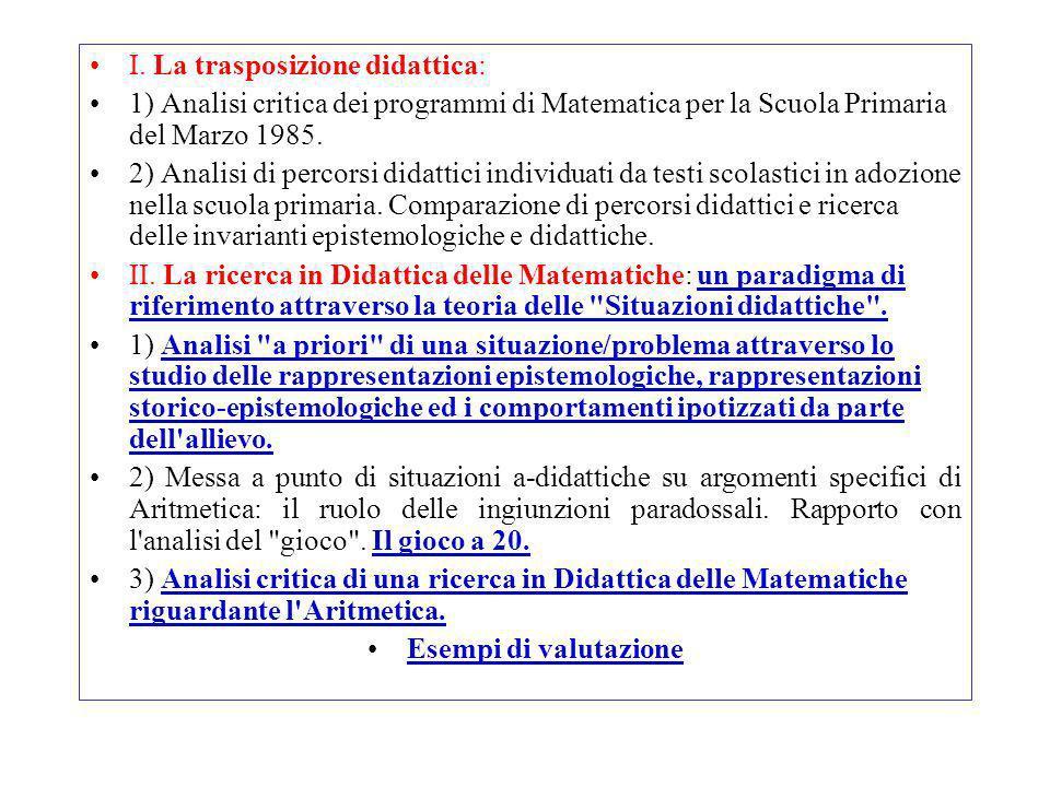 I. La trasposizione didattica: 1) Analisi critica dei programmi di Matematica per la Scuola Primaria del Marzo 1985. 2) Analisi di percorsi didattici