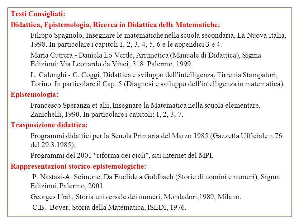 Testi Consigliati: Didattica, Epistemologia, Ricerca in Didattica delle Matematiche: Filippo Spagnolo, Insegnare le matematiche nella scuola secondari