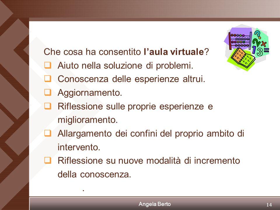 Angela Berto 13 A casa per preparazione e ricerca dei materiali cartacei occorrenti; lavoro di gruppo attraverso laula virtuale..