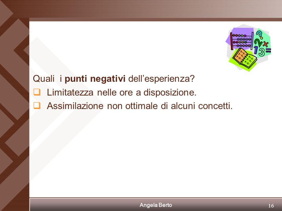 Angela Berto 15 Quali i punti positivi dellesperienza? Considerevole coinvolgimento degli studenti con dimostrazione di interesse e impegno. Possibili