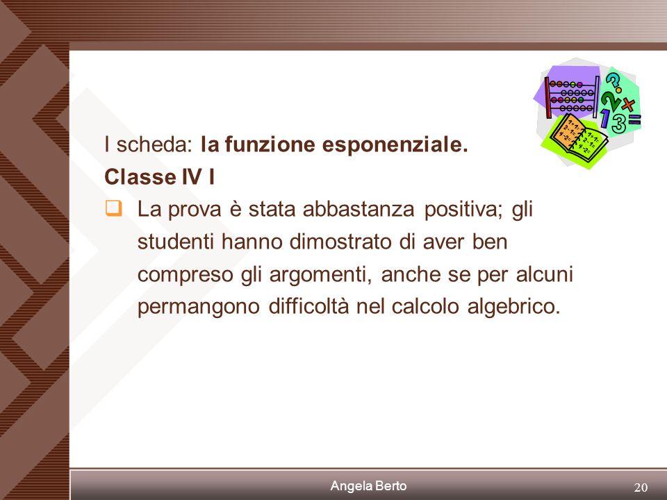 Angela Berto 19 I scheda: la funzione esponenziale Classe IV C