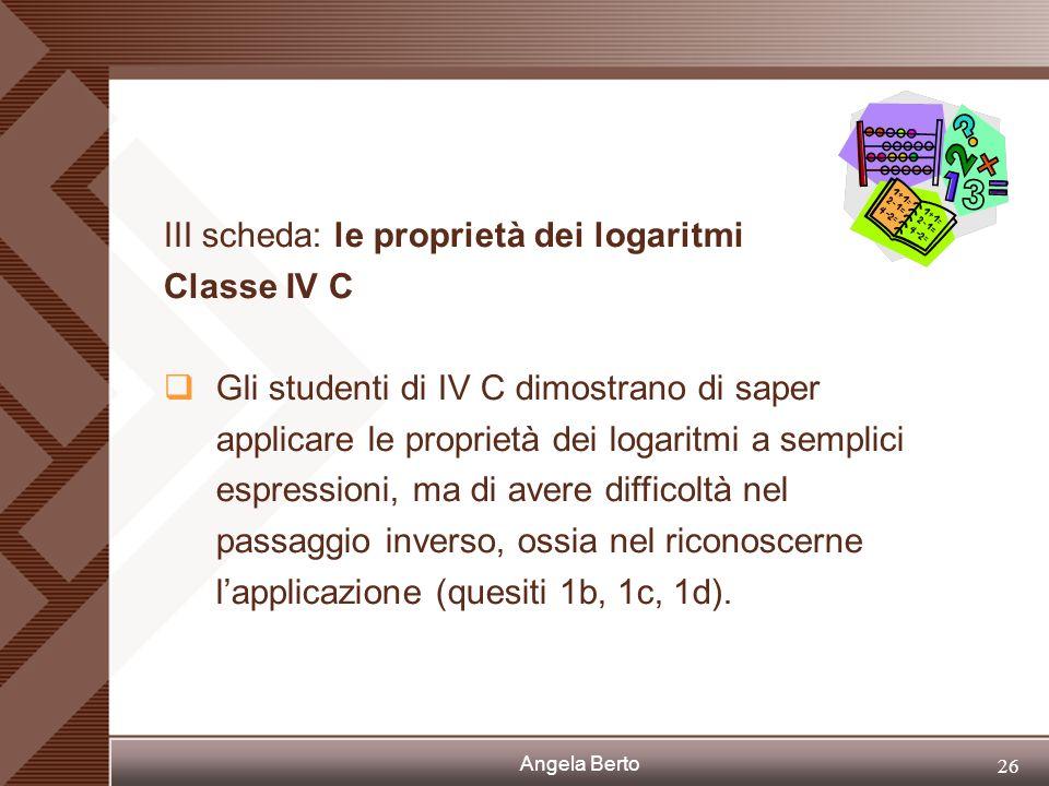 Angela Berto 25 II scheda: la definizione di logaritmo Classe IV I
