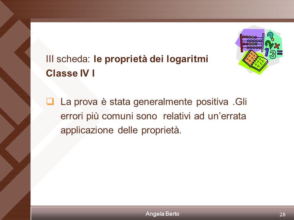 Angela Berto 27 III scheda: le proprietà dei logaritmi Classe IV C