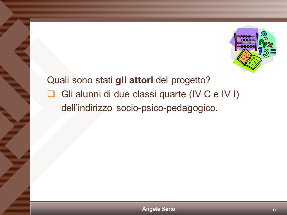 Angela Berto 5 Perché è nato questo progetto? Per far comprendere agli studenti che molti fenomeni reali possono essere rappresentati mediante modelli