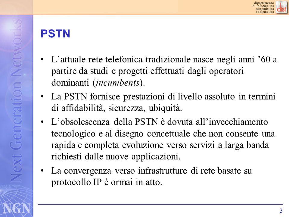 4 PSTN La PSTN è una rete a commutazione di circuito –Allatto del setup della chiamata viene riservato un canale e la voce segue sempre lo stesso percorso.