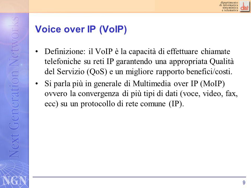 10 VoIP voce CODEC: A/D Compressione Creazione dei Voice Datagram Aggiunta di Header (RTP, UDP, IP, etc) voce Processamento Header Riordino e bufferizzazione Decompressione CODEC: D/A