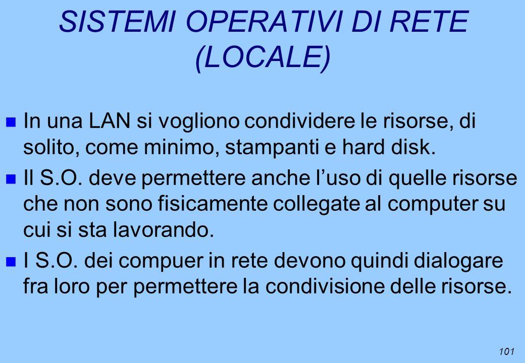 101 SISTEMI OPERATIVI DI RETE (LOCALE) n In una LAN si vogliono condividere le risorse, di solito, come minimo, stampanti e hard disk. n Il S.O. deve