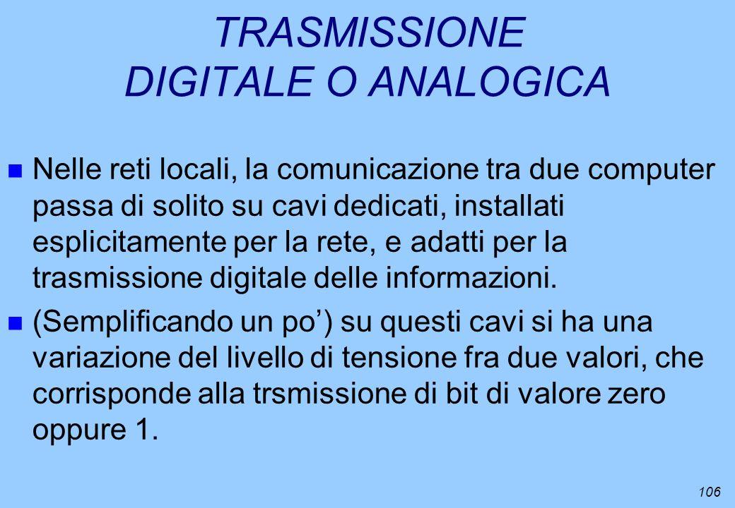 106 TRASMISSIONE DIGITALE O ANALOGICA n Nelle reti locali, la comunicazione tra due computer passa di solito su cavi dedicati, installati esplicitamen
