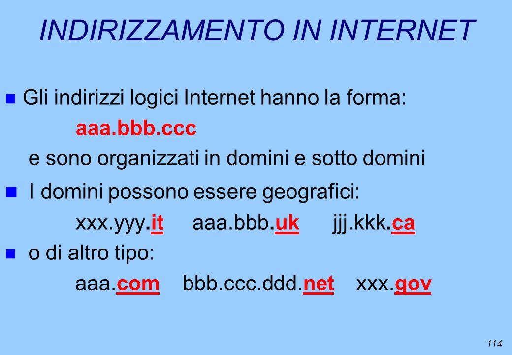 114 INDIRIZZAMENTO IN INTERNET n Gli indirizzi logici Internet hanno la forma: aaa.bbb.ccc e sono organizzati in domini e sotto domini n I domini poss