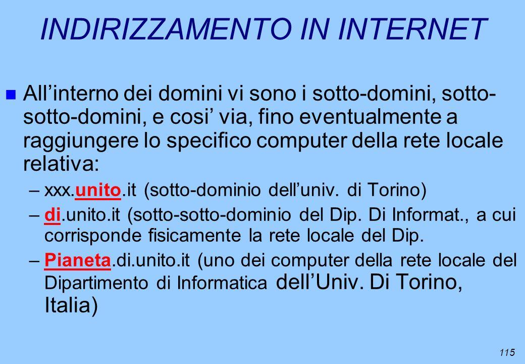 115 INDIRIZZAMENTO IN INTERNET n Allinterno dei domini vi sono i sotto-domini, sotto- sotto-domini, e cosi via, fino eventualmente a raggiungere lo sp