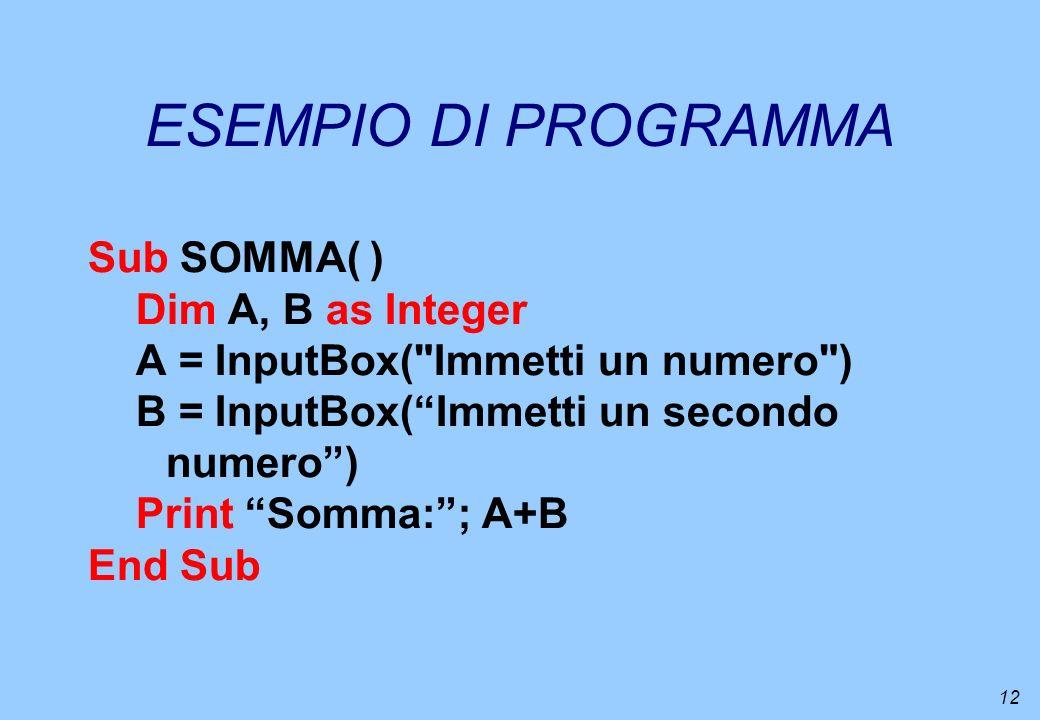 12 ESEMPIO DI PROGRAMMA Sub SOMMA( ) Dim A, B as Integer A = InputBox(