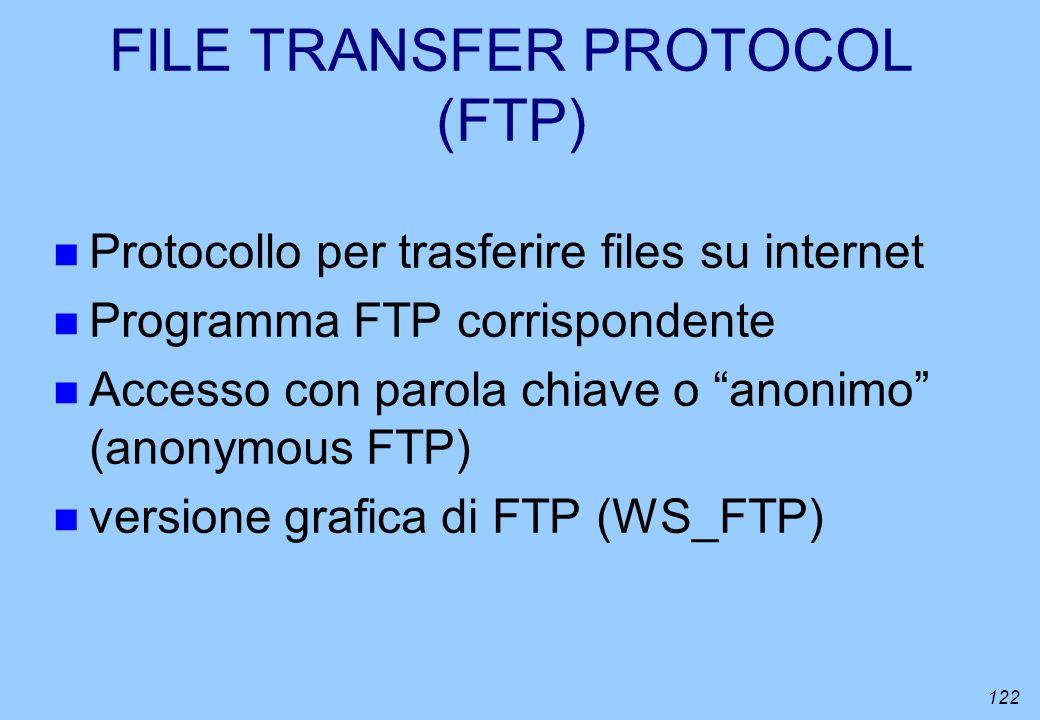 122 FILE TRANSFER PROTOCOL (FTP) n Protocollo per trasferire files su internet n Programma FTP corrispondente n Accesso con parola chiave o anonimo (a