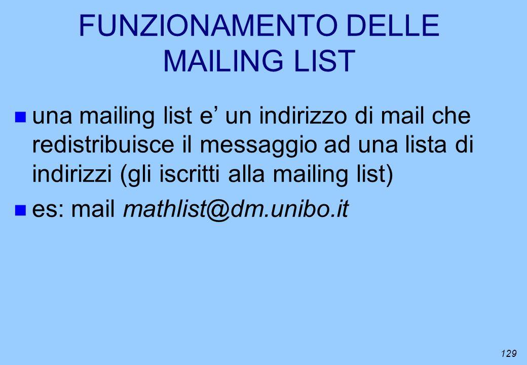 129 FUNZIONAMENTO DELLE MAILING LIST n una mailing list e un indirizzo di mail che redistribuisce il messaggio ad una lista di indirizzi (gli iscritti