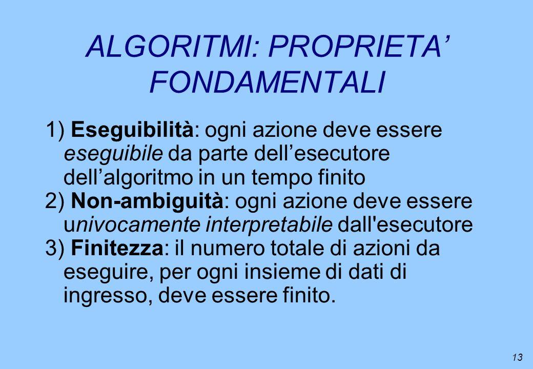 13 ALGORITMI: PROPRIETA FONDAMENTALI 1) Eseguibilità: ogni azione deve essere eseguibile da parte dellesecutore dellalgoritmo in un tempo finito 2) No