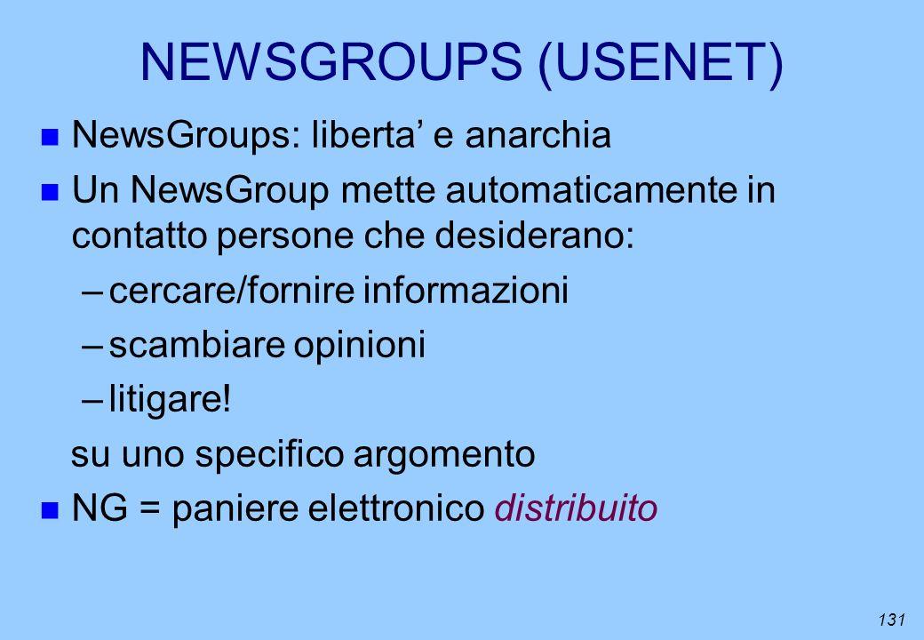 131 NEWSGROUPS (USENET) n NewsGroups: liberta e anarchia n Un NewsGroup mette automaticamente in contatto persone che desiderano: –cercare/fornire inf