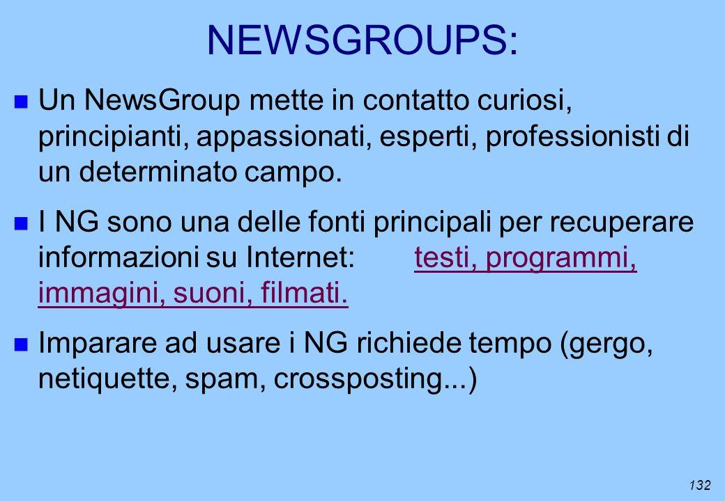 132 NEWSGROUPS: n Un NewsGroup mette in contatto curiosi, principianti, appassionati, esperti, professionisti di un determinato campo. n I NG sono una