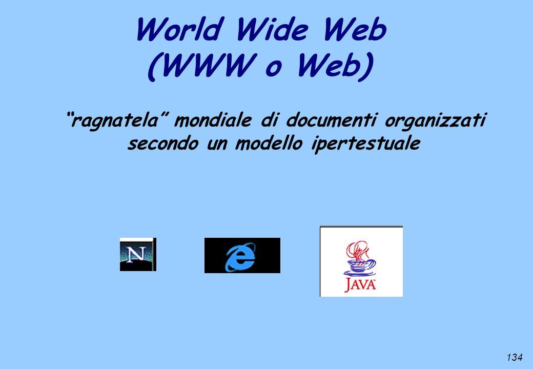 134 World Wide Web (WWW o Web) ragnatela mondiale di documenti organizzati secondo un modello ipertestuale
