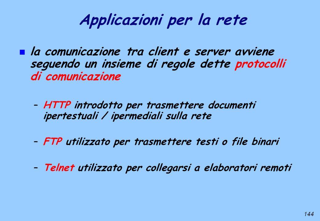 144 Applicazioni per la rete n la comunicazione tra client e server avviene seguendo un insieme di regole dette protocolli di comunicazione –HTTP intr