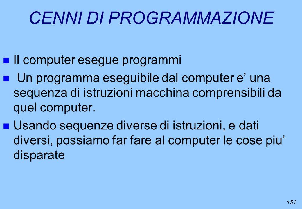 151 CENNI DI PROGRAMMAZIONE n Il computer esegue programmi n Un programma eseguibile dal computer e una sequenza di istruzioni macchina comprensibili