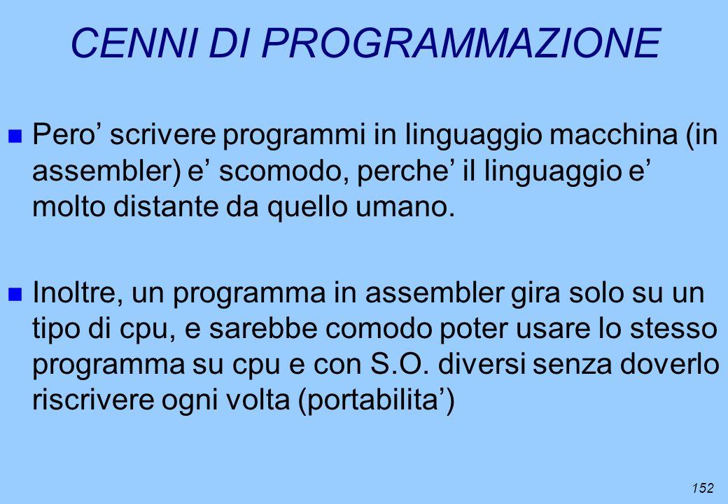 152 CENNI DI PROGRAMMAZIONE n Pero scrivere programmi in linguaggio macchina (in assembler) e scomodo, perche il linguaggio e molto distante da quello
