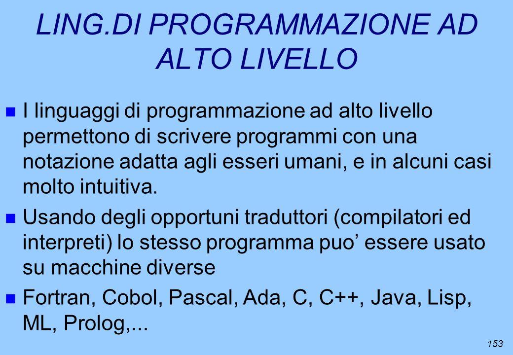 153 LING.DI PROGRAMMAZIONE AD ALTO LIVELLO n I linguaggi di programmazione ad alto livello permettono di scrivere programmi con una notazione adatta a
