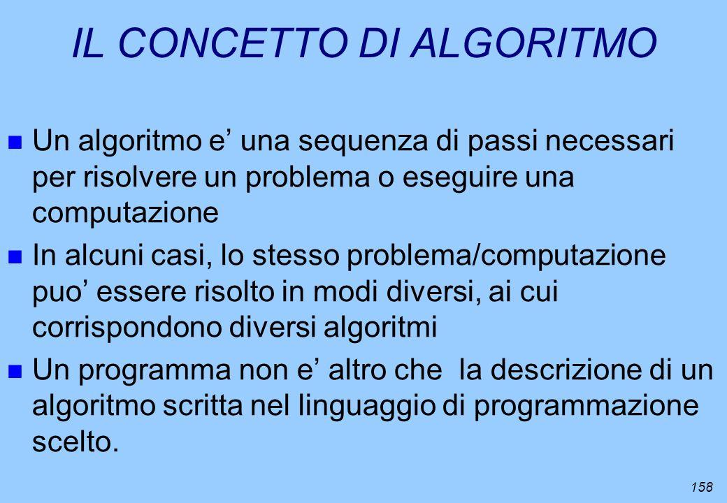 158 IL CONCETTO DI ALGORITMO n Un algoritmo e una sequenza di passi necessari per risolvere un problema o eseguire una computazione n In alcuni casi,
