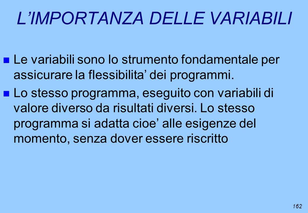 162 LIMPORTANZA DELLE VARIABILI n Le variabili sono lo strumento fondamentale per assicurare la flessibilita dei programmi. n Lo stesso programma, ese