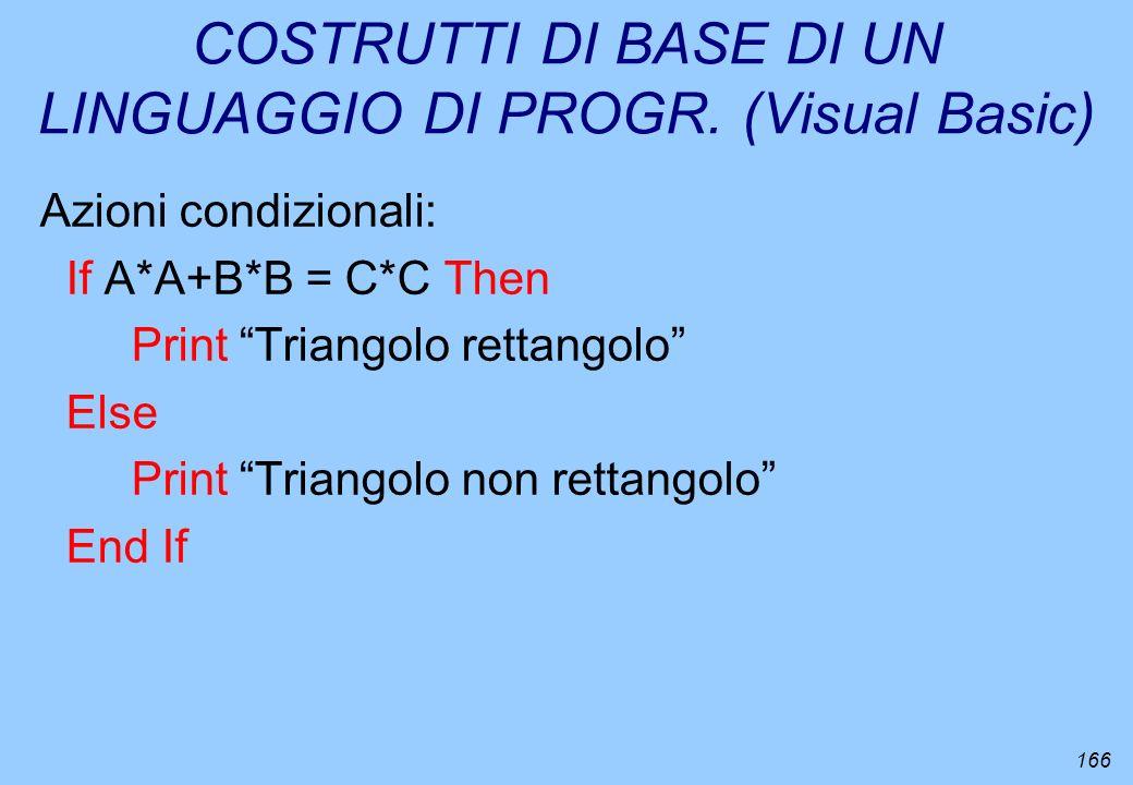 166 COSTRUTTI DI BASE DI UN LINGUAGGIO DI PROGR. (Visual Basic) Azioni condizionali: If A*A+B*B = C*C Then Print Triangolo rettangolo Else Print Trian