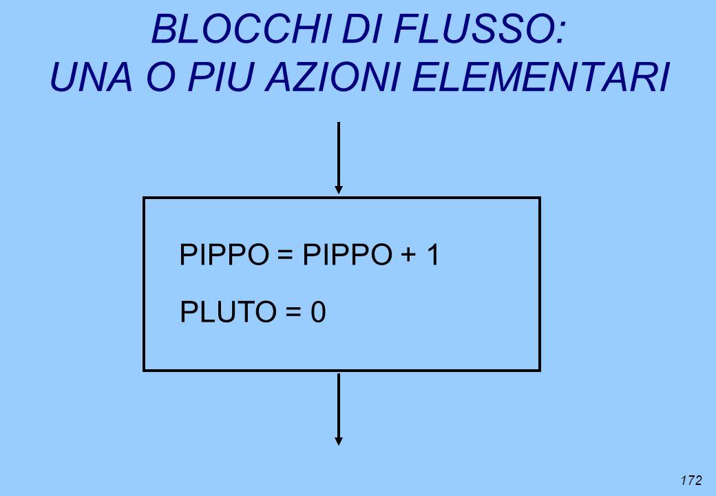172 BLOCCHI DI FLUSSO: UNA O PIU AZIONI ELEMENTARI PIPPO = PIPPO + 1 PLUTO = 0