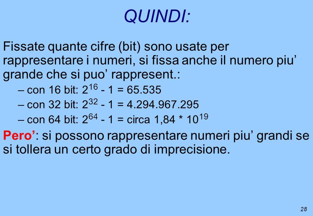 28 QUINDI: Fissate quante cifre (bit) sono usate per rappresentare i numeri, si fissa anche il numero piu grande che si puo rappresent.: –con 16 bit: