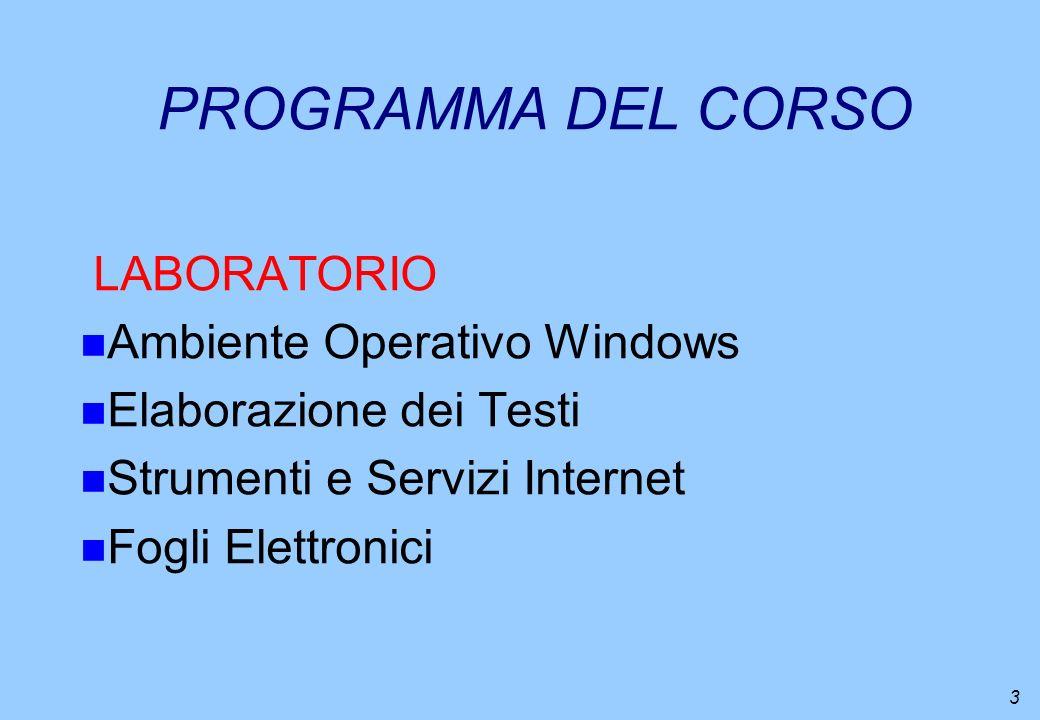 3 PROGRAMMA DEL CORSO LABORATORIO n Ambiente Operativo Windows n Elaborazione dei Testi n Strumenti e Servizi Internet n Fogli Elettronici