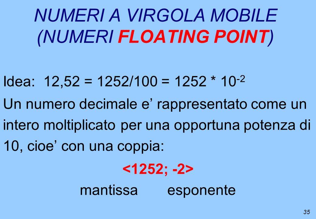 35 NUMERI A VIRGOLA MOBILE (NUMERI FLOATING POINT) Idea: 12,52 = 1252/100 = 1252 * 10 -2 Un numero decimale e rappresentato come un intero moltiplicat