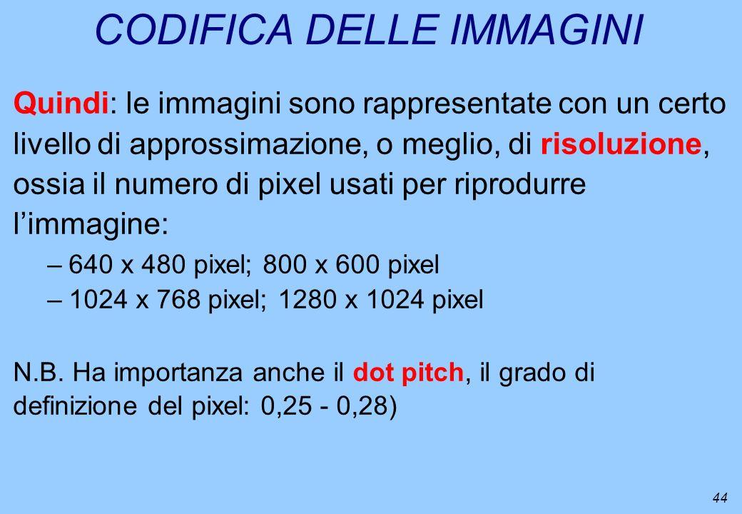 44 CODIFICA DELLE IMMAGINI Quindi: le immagini sono rappresentate con un certo livello di approssimazione, o meglio, di risoluzione, ossia il numero d