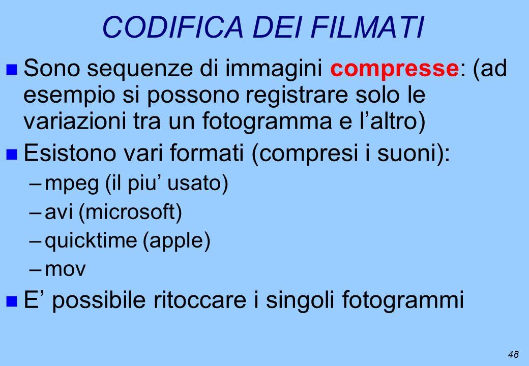 48 CODIFICA DEI FILMATI n Sono sequenze di immagini compresse: (ad esempio si possono registrare solo le variazioni tra un fotogramma e laltro) n Esis