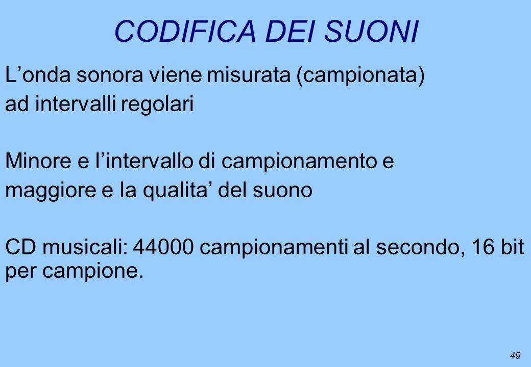 49 CODIFICA DEI SUONI Londa sonora viene misurata (campionata) ad intervalli regolari Minore e lintervallo di campionamento e maggiore e la qualita de