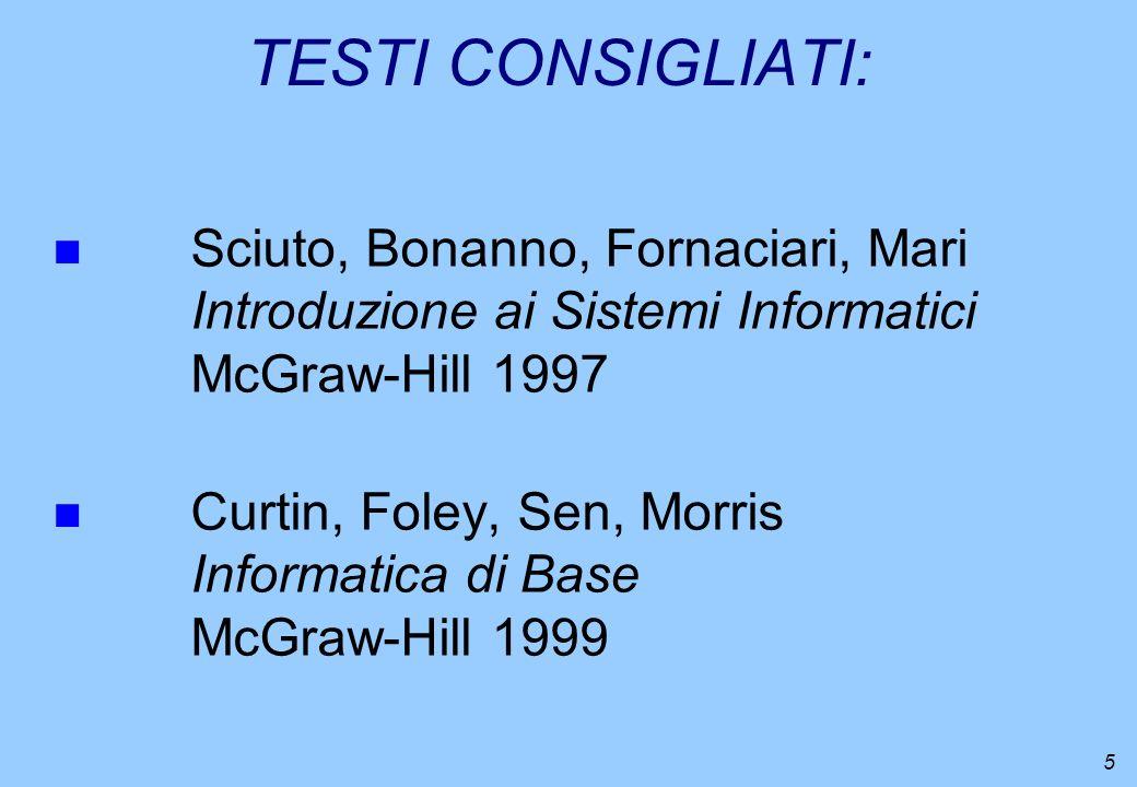 5 TESTI CONSIGLIATI: n Sciuto, Bonanno, Fornaciari, Mari Introduzione ai Sistemi Informatici McGraw-Hill 1997 n Curtin, Foley, Sen, Morris Informatica