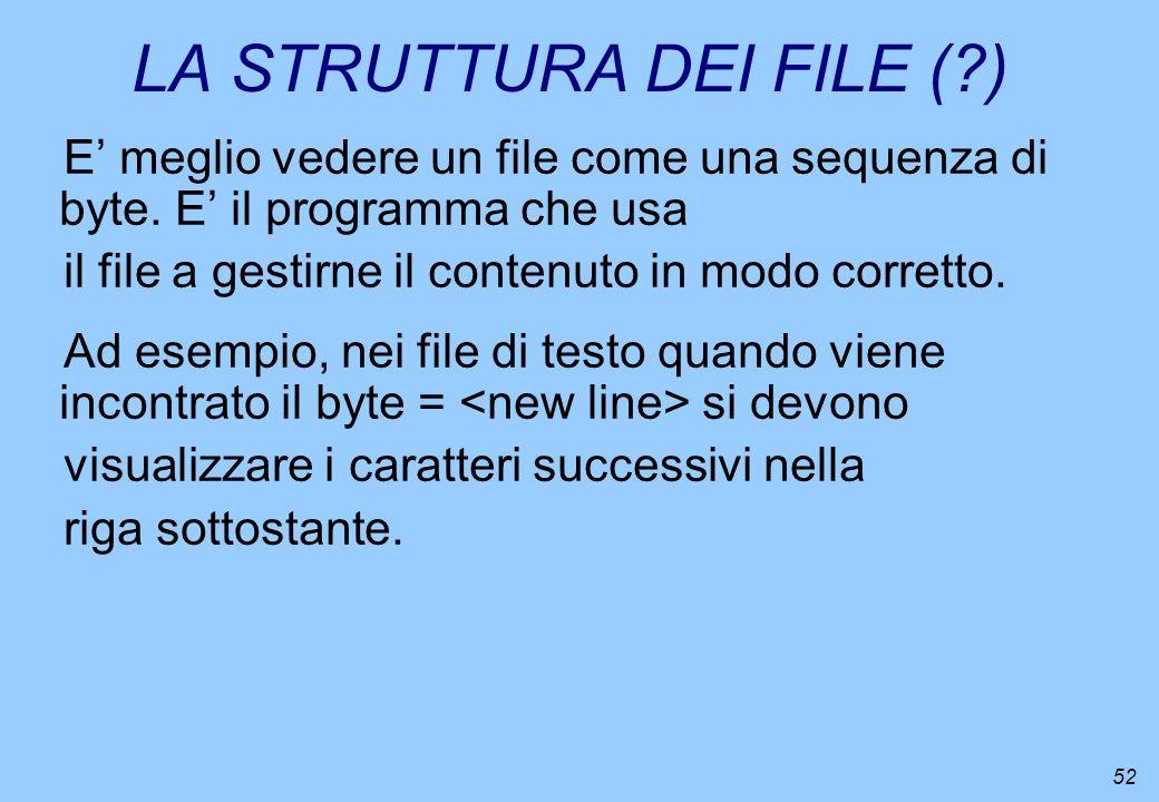 52 LA STRUTTURA DEI FILE (?) E meglio vedere un file come una sequenza di byte. E il programma che usa il file a gestirne il contenuto in modo corrett