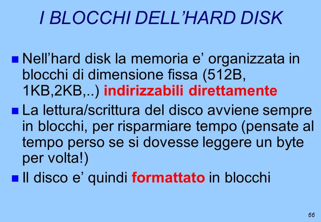 66 I BLOCCHI DELLHARD DISK n Nellhard disk la memoria e organizzata in blocchi di dimensione fissa (512B, 1KB,2KB,..) indirizzabili direttamente n La
