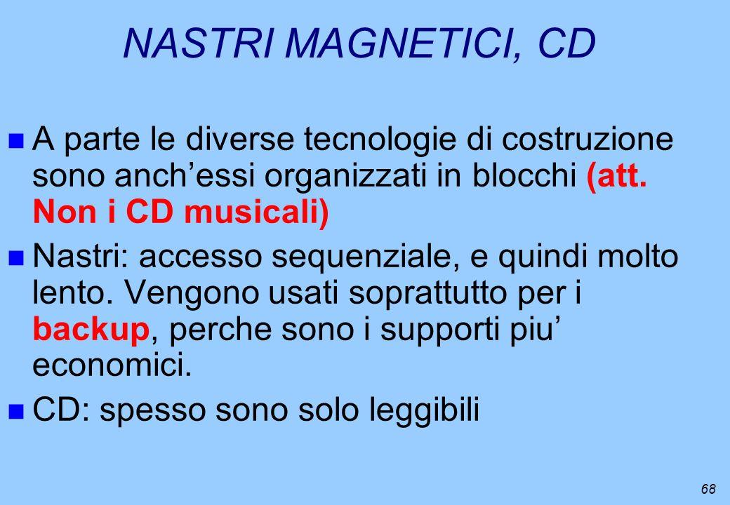 68 NASTRI MAGNETICI, CD n A parte le diverse tecnologie di costruzione sono anchessi organizzati in blocchi (att. Non i CD musicali) n Nastri: accesso