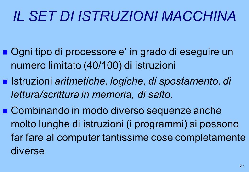 71 IL SET DI ISTRUZIONI MACCHINA n Ogni tipo di processore e in grado di eseguire un numero limitato (40/100) di istruzioni n Istruzioni aritmetiche,