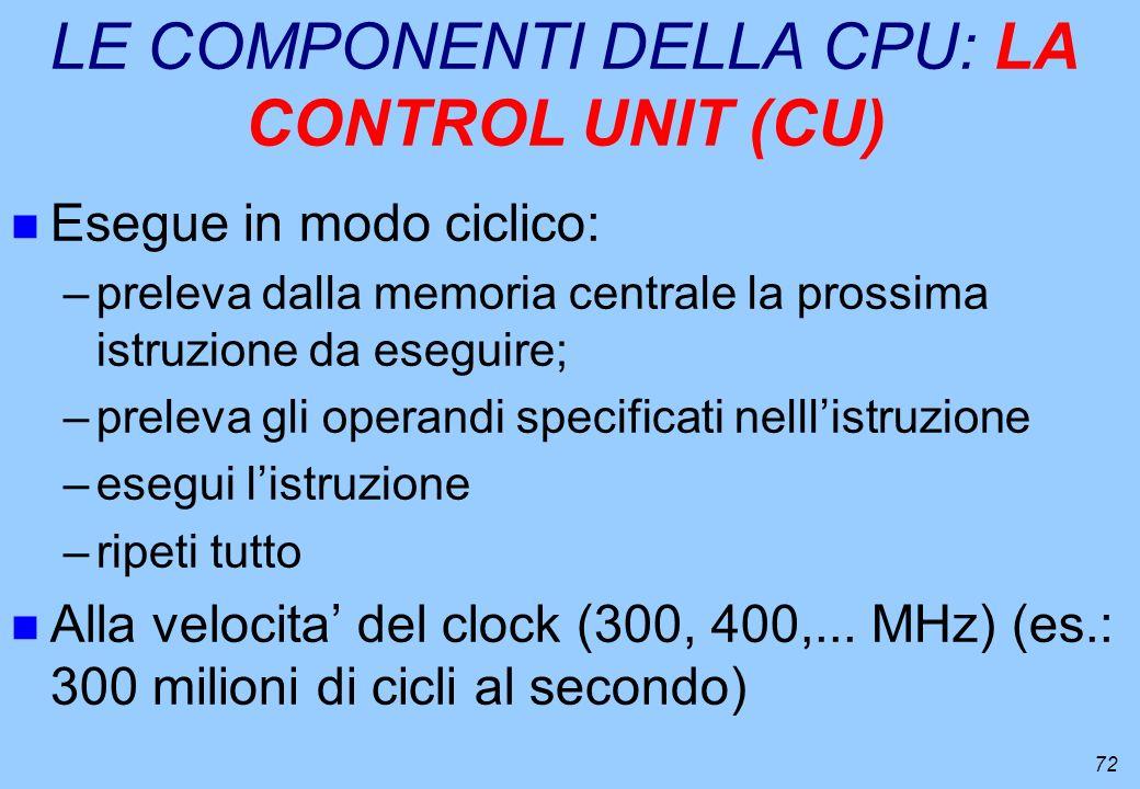 72 LE COMPONENTI DELLA CPU: LA CONTROL UNIT (CU) n Esegue in modo ciclico: –preleva dalla memoria centrale la prossima istruzione da eseguire; –prelev