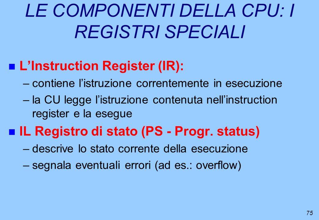 75 LE COMPONENTI DELLA CPU: I REGISTRI SPECIALI n LInstruction Register (IR): –contiene listruzione correntemente in esecuzione –la CU legge listruzio