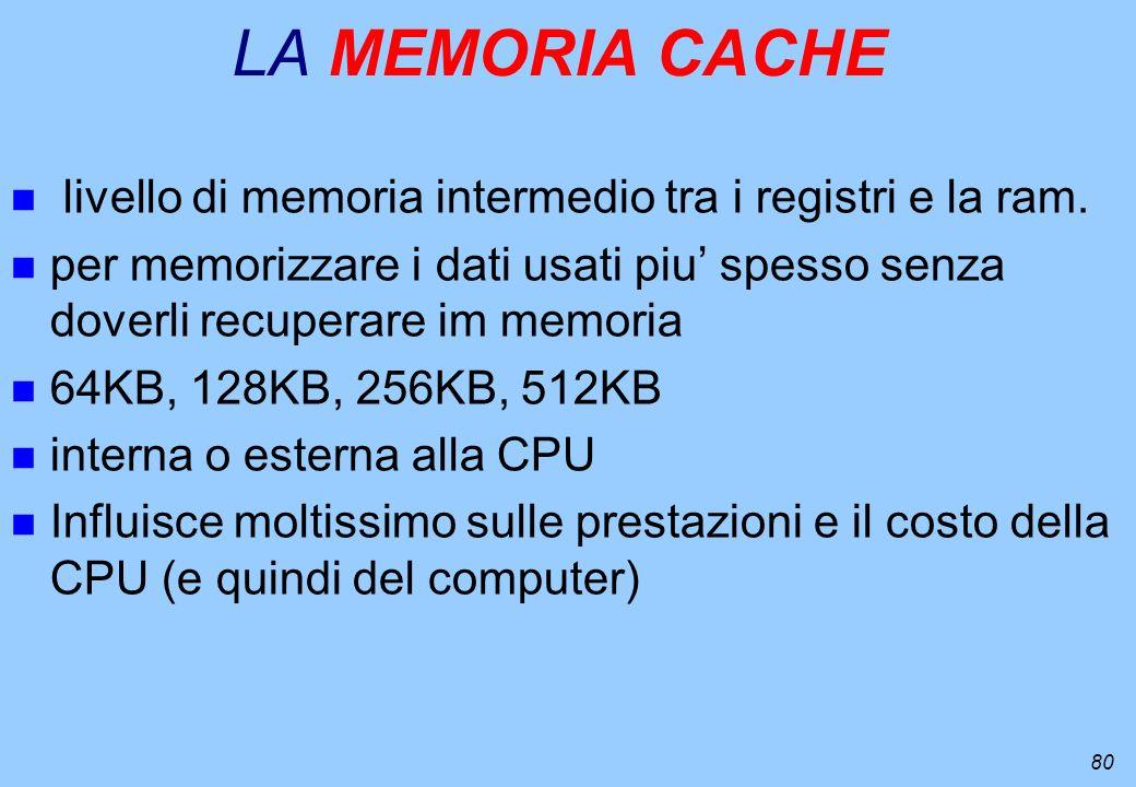 80 LA MEMORIA CACHE n livello di memoria intermedio tra i registri e la ram. n per memorizzare i dati usati piu spesso senza doverli recuperare im mem