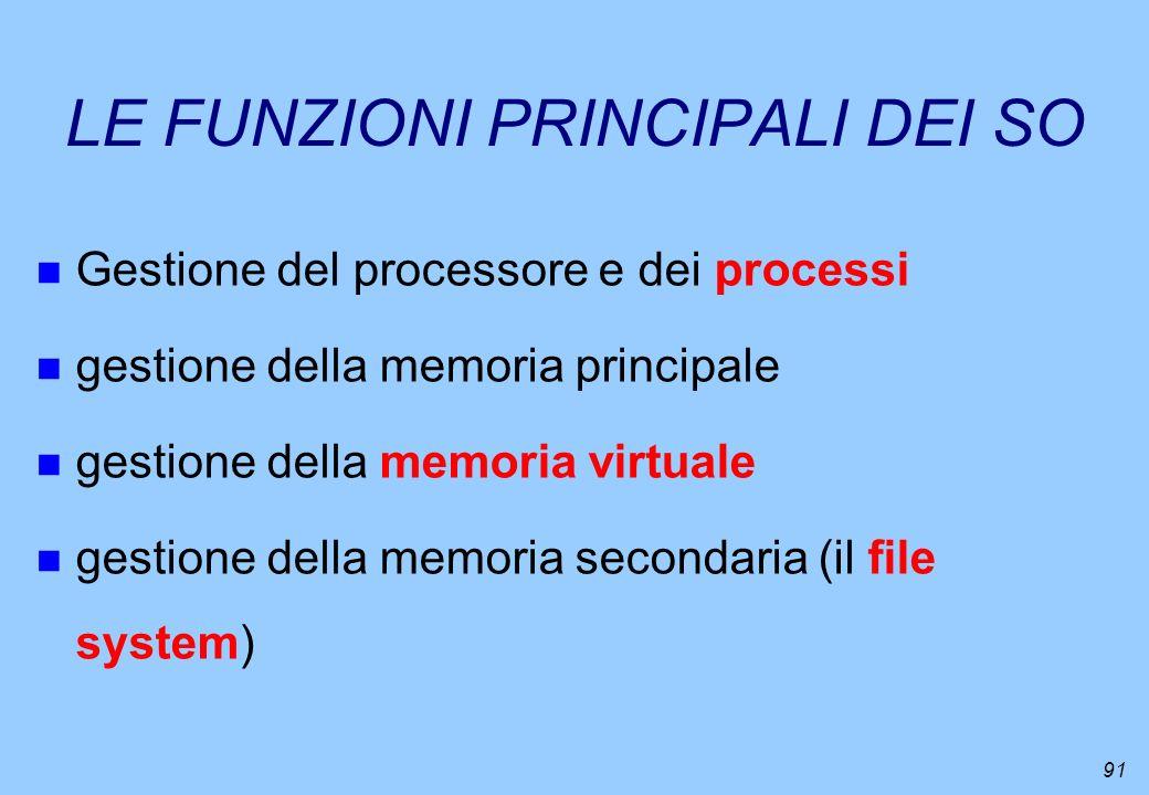 91 LE FUNZIONI PRINCIPALI DEI SO n Gestione del processore e dei processi n gestione della memoria principale n gestione della memoria virtuale n gest