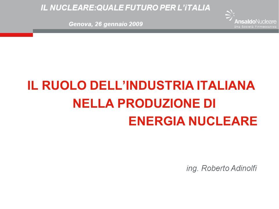 IL NUCLEARE:QUALE FUTURO PER LiTALIA Genova, 26 gennaio 2009 IL RUOLO DELLINDUSTRIA ITALIANA NELLA PRODUZIONE DI ENERGIA NUCLEARE ing. Roberto Adinolf