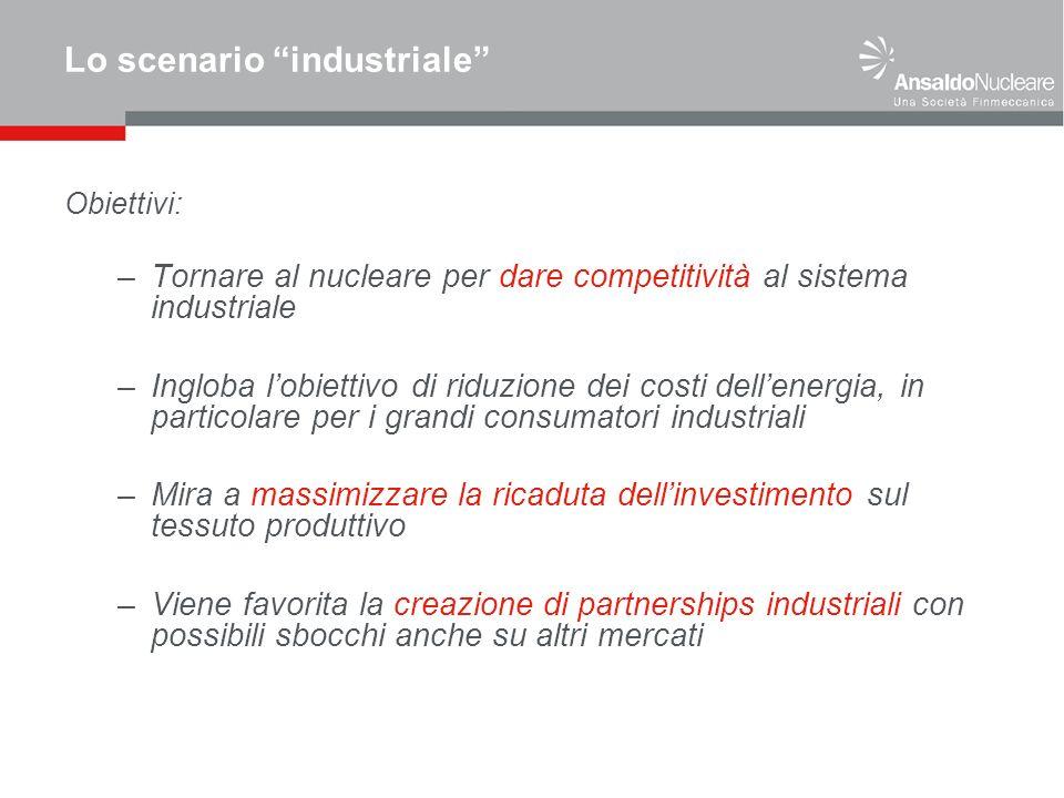 Lo scenario industriale Obiettivi: –Tornare al nucleare per dare competitività al sistema industriale –Ingloba lobiettivo di riduzione dei costi delle