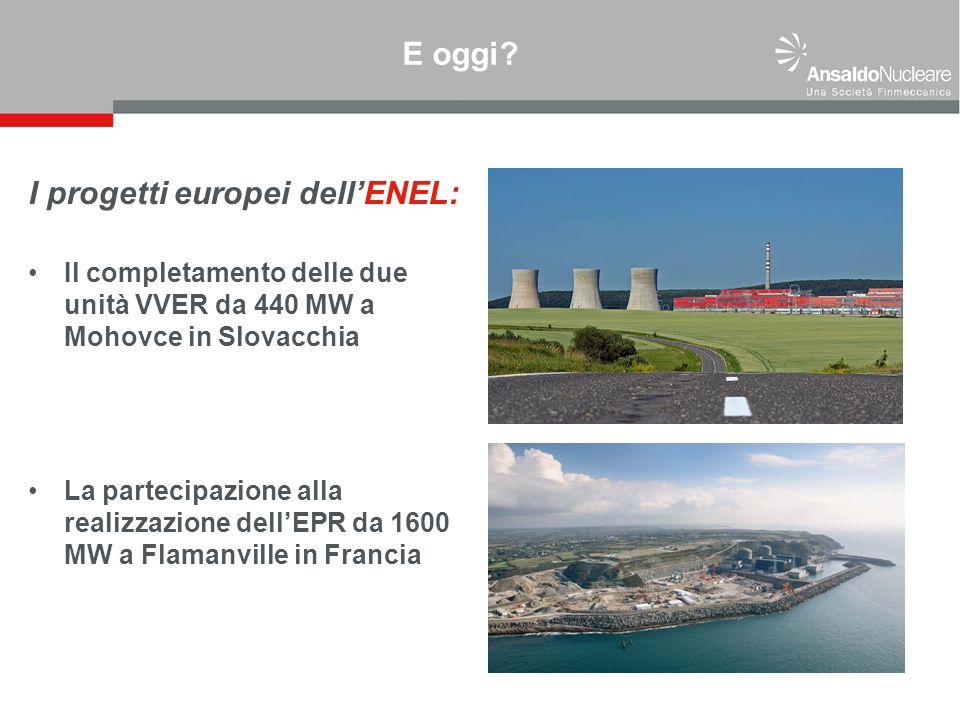 E oggi? I progetti europei dellENEL: Il completamento delle due unità VVER da 440 MW a Mohovce in Slovacchia La partecipazione alla realizzazione dell