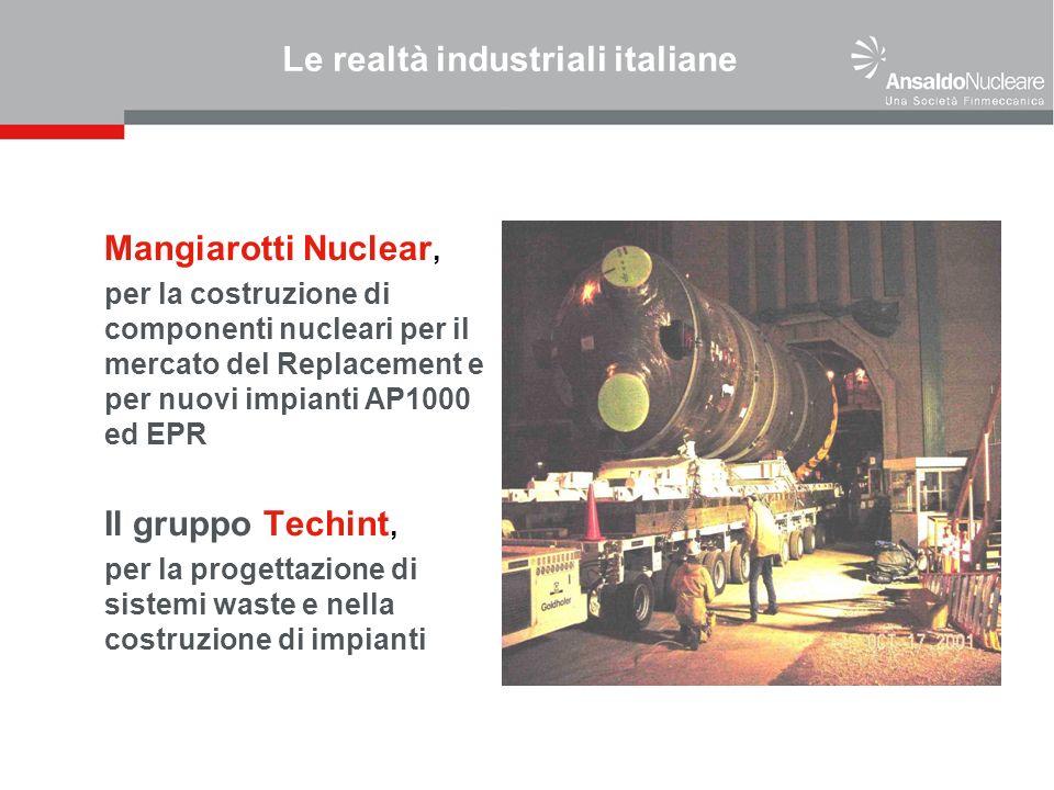 Le realtà industriali italiane Mangiarotti Nuclear, per la costruzione di componenti nucleari per il mercato del Replacement e per nuovi impianti AP1000 ed EPR Il gruppo Techint, per la progettazione di sistemi waste e nella costruzione di impianti